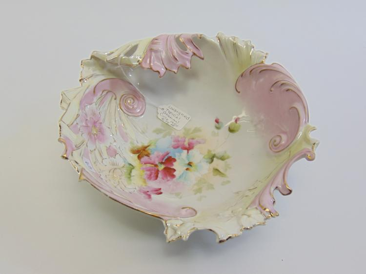 Antique Hand Painted Porcelain Flower Bowl