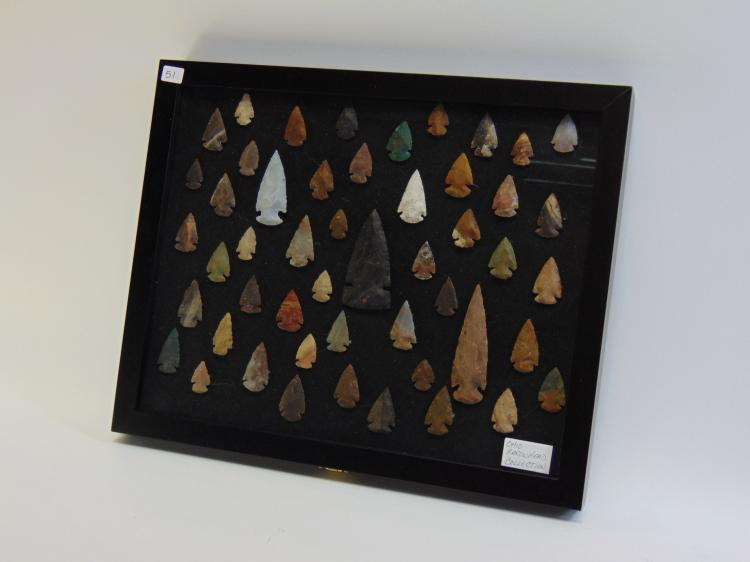 Lot of Over 40 Ohio Knapped Arrowheads and Spear Tips in Display Case