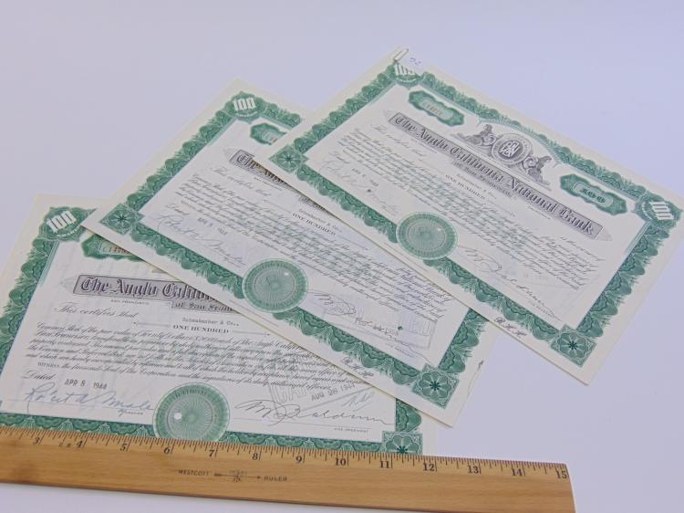 Lot 52: Lot of 3 Anglo California National Bank of San Francisco 100 Share Stock Certificates
