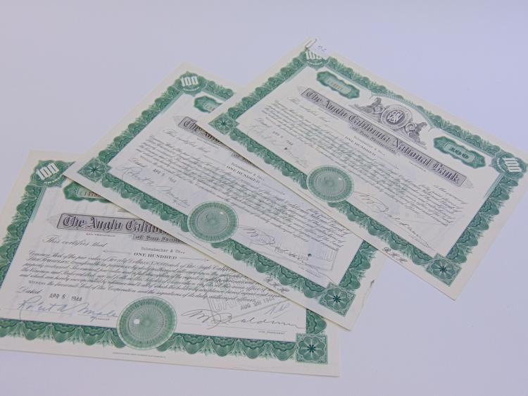 Lot of 3 Anglo California National Bank of San Francisco 100 Share Stock Certificates
