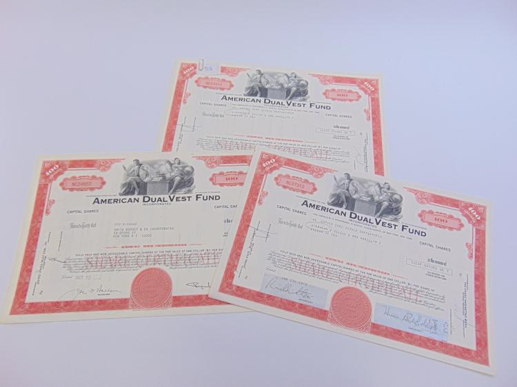 Lot of 3 American Dual Vest Fund 100 Share Stock Certificates
