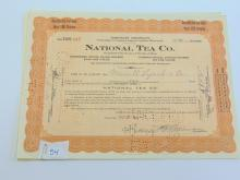 Lot 54: Lot of 3 National Tea Co 10 Share Stock Certificates