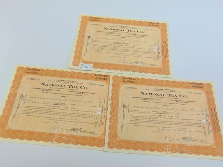 Lot of 3 National Tea Co 10 Share Stock Certificates