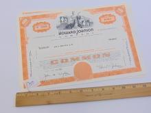 Lot 55: Lot of 2 Howard Johnson Company 100 Share Stock Certificates