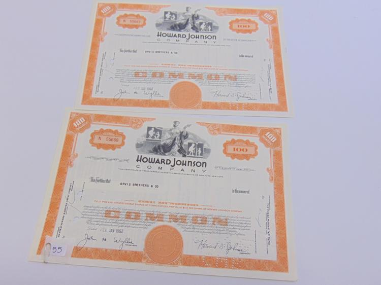 Lot of 2 Howard Johnson Company 100 Share Stock Certificates