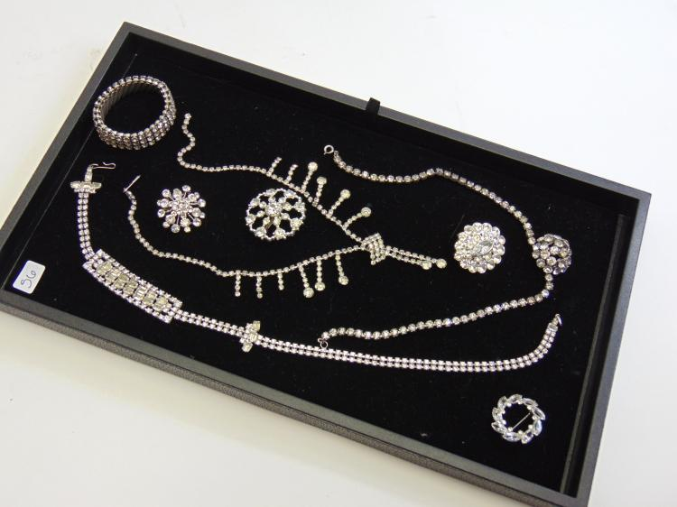 Lot of Vinatge Rhinestone Costume Jewelry Necklaces Brooches and Bracelet