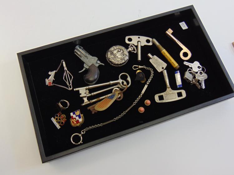 Lot of Skeleton Keys Jewelry Pocket Watch Toy Gun and Ephemera