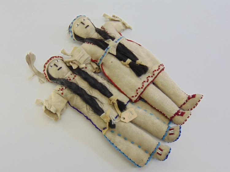Lot of 2 Arapajo Indian Hand Made Beaded Dolls