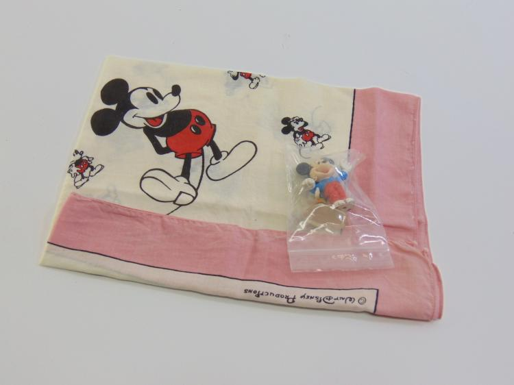 Lot 59: Vintage Lot of Walt Disney Productions Mickey Mouse Handkerchief Scarf & Figurines