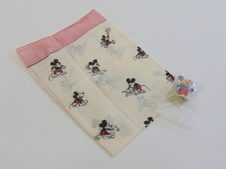 Vintage Lot of Walt Disney Productions Mickey Mouse Handkerchief Scarf & Figurines