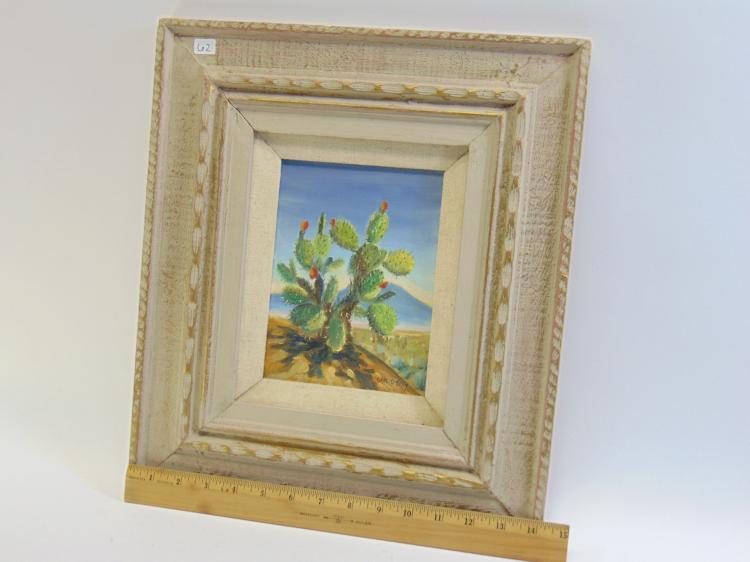 Lot 62: Carl G Bray Original Oil on Board of Cactus