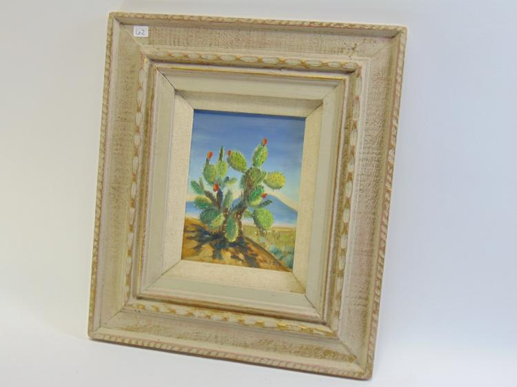 Carl G Bray Original Oil on Board of Cactus