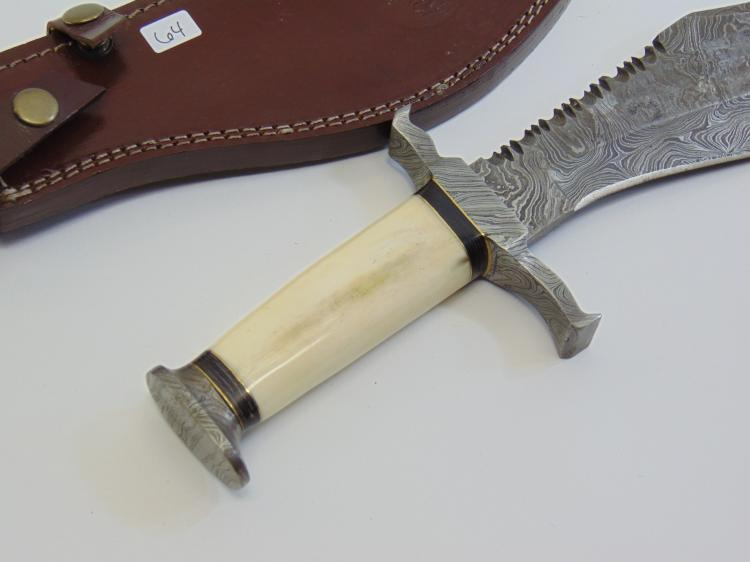 Lot 64: Bone Handle Damascus Steel Bowie Knife and Leather Sheath