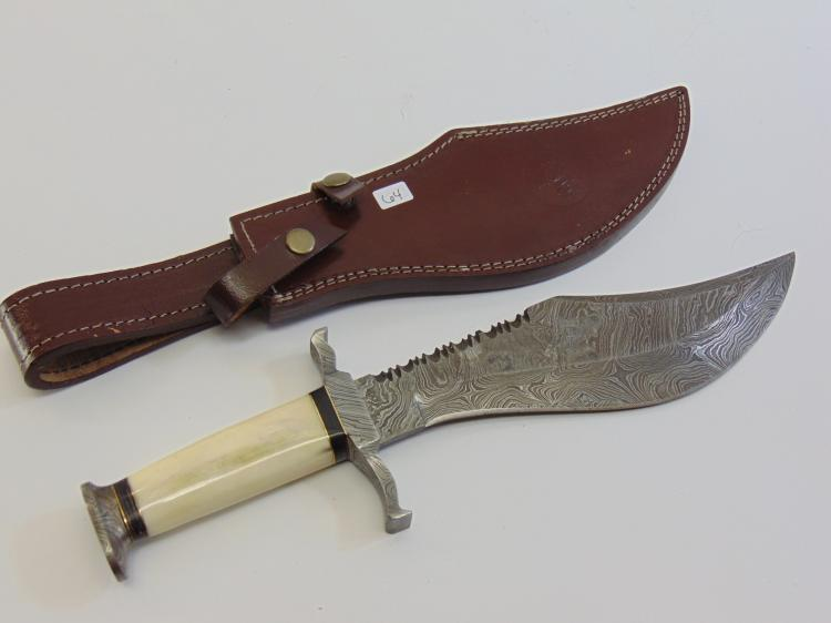 Bone Handle Damascus Steel Bowie Knife and Leather Sheath