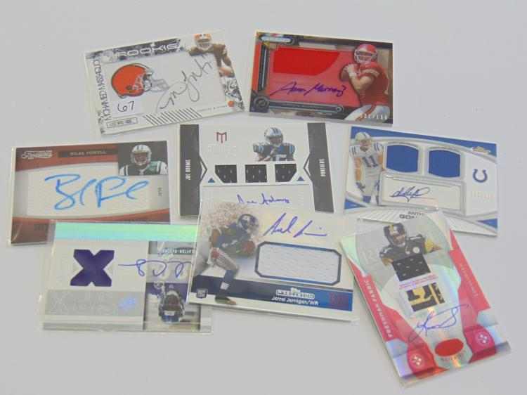 8 Autographed Relic Football Collectible Rookie Cards