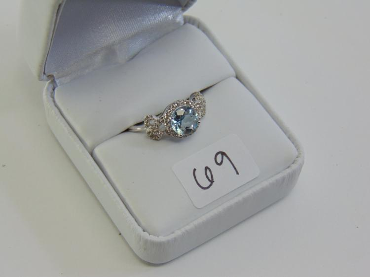 Stering Silver Diamond and Aquamarine Ring Sz 8.5
