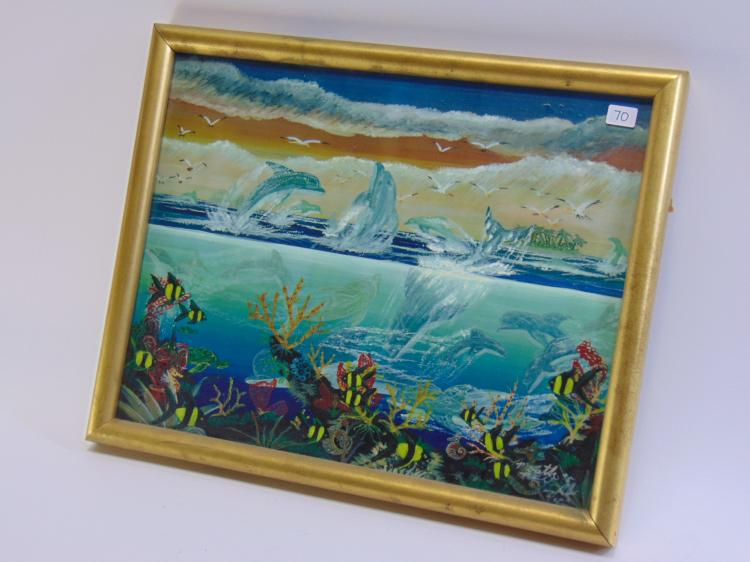 Lot 70: Tony Ryals Signed Original Dolphin Ocean Drawing By Mouth