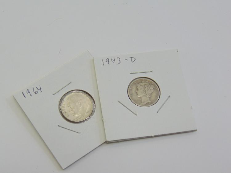 Lot of 2 Silver 1964 Roosevelt Dime & 1943 Mercury Dime