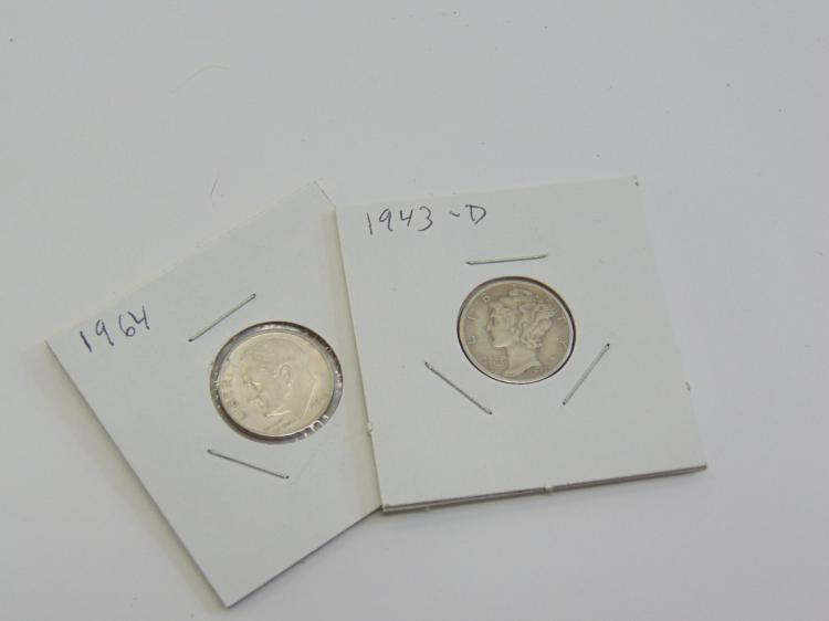 Lot of 2 Silver 1964 Roosevelt Dime & 1943 Mercury Dime