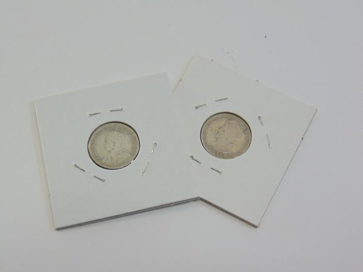 Lot 76: Lot of 2 Silver 1953 Panama and 1920 Canada Dimes