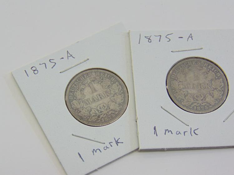 Lot of 2 Silver Deutsches Reich 1875 German 1 Mark Coins