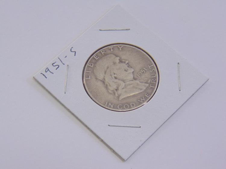 Lot 78: Silver 1951 S Franklin Half Dollar