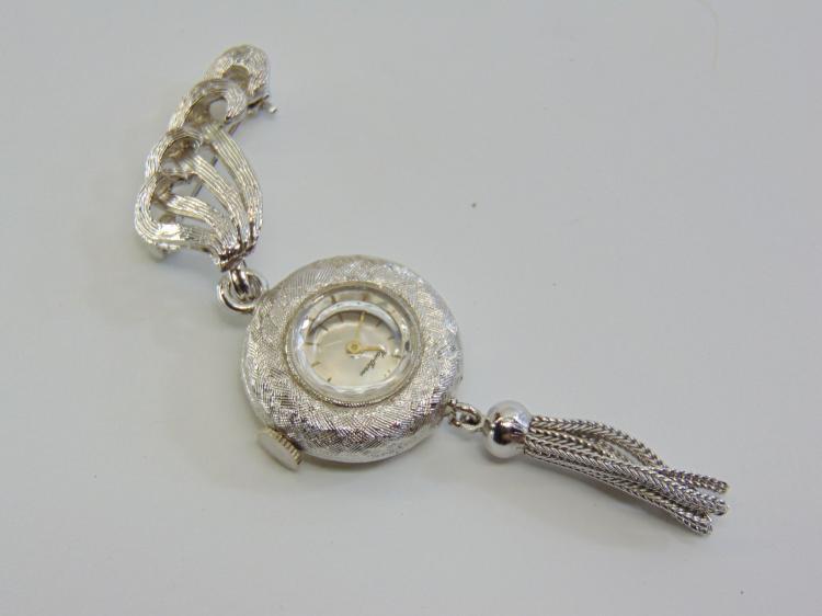 Hawthore Manual Wind Ladie's Watch Costume Jewelry Brooch