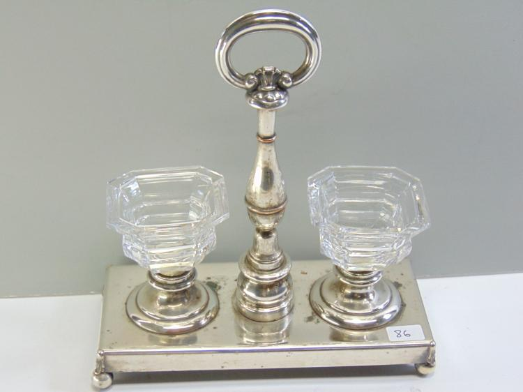 Silverplated Cut Crystal Salt Cellar Caddy