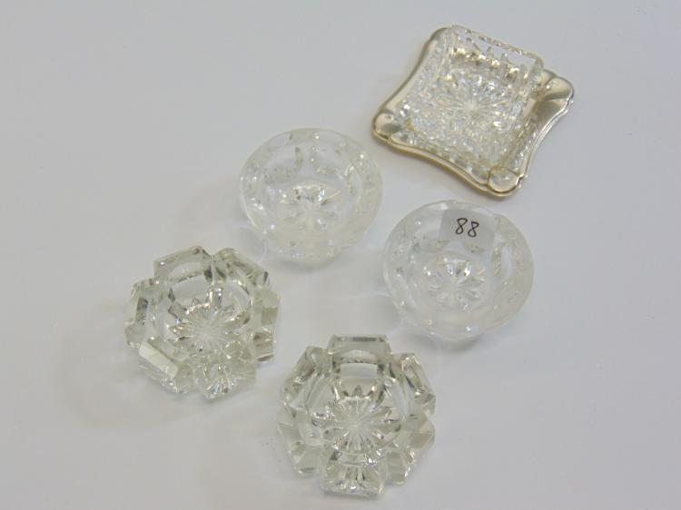 Lot of 5 Pressed and Cut Crystal Salt Cellars