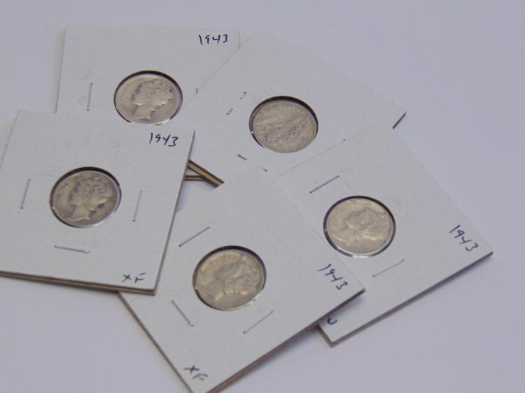 Lot of 5 Silver 1943 Mercury Dimes