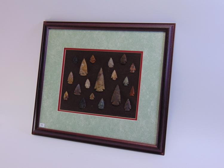 Lot of 19 Ohio Knapped Flint Arrowheads and Spear Tips in Display Frame