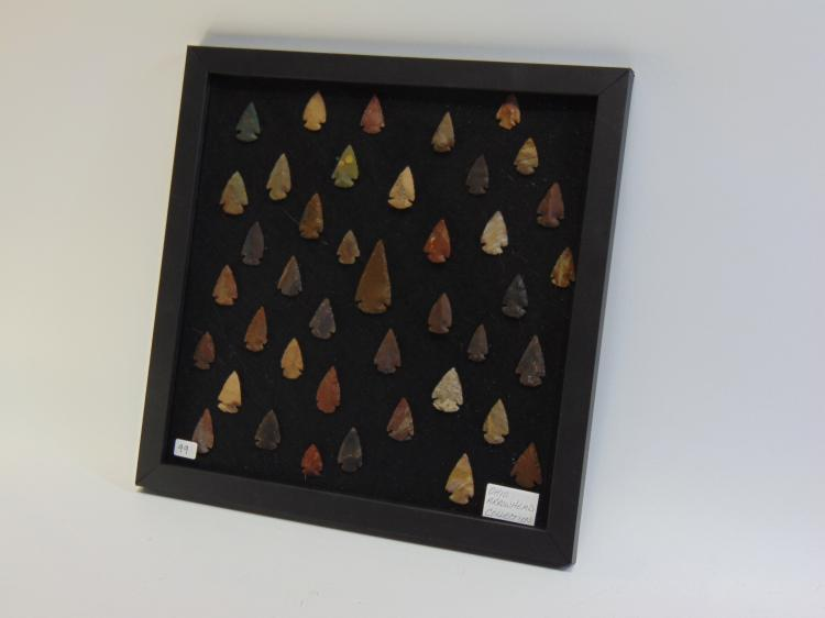 Lot of About 40 Ohio Knapped Flint Arrowheads and Spear Tips in Display Frame