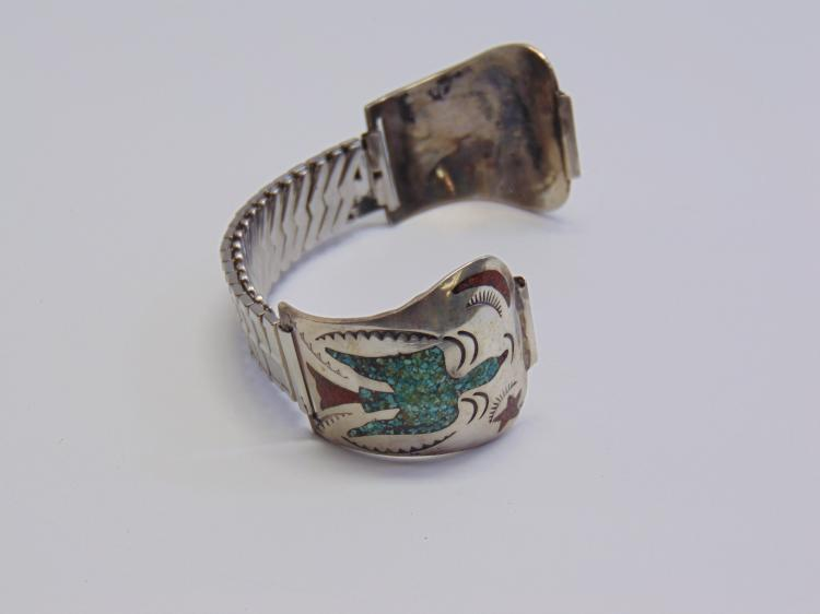 Lot 102: 39 Gram Navajo? Zuni Sterling Silver Inlaid Chip Turquoise and Coral Watch Tips
