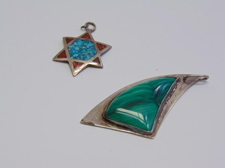 Lot 104: 13.5 Gram Lot of 2 Mexican Sterling Silver Inlaid Malachite Turquoise and Coral Pendants