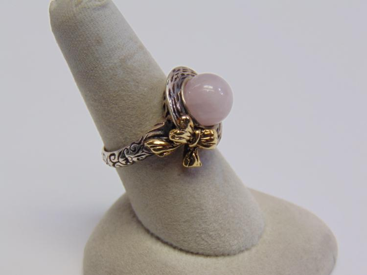 Lot 107: Sterling Silver 18K Gold and Rose Quartz Ring Sz 8.5