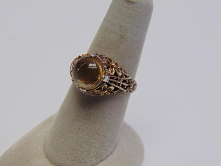 Lot 108: Sterling Silver 18K Gold and Amber Ring Sz 8.5