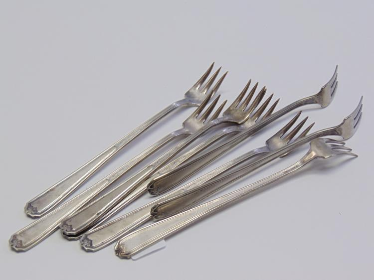 Lot of 8 1920s Nickel Silver Seafood Fork Set