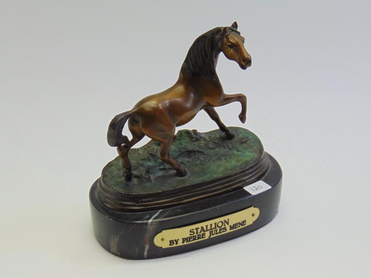 Piere Jules Mene Stallion Bronze Horse Sculpture on Marble Base