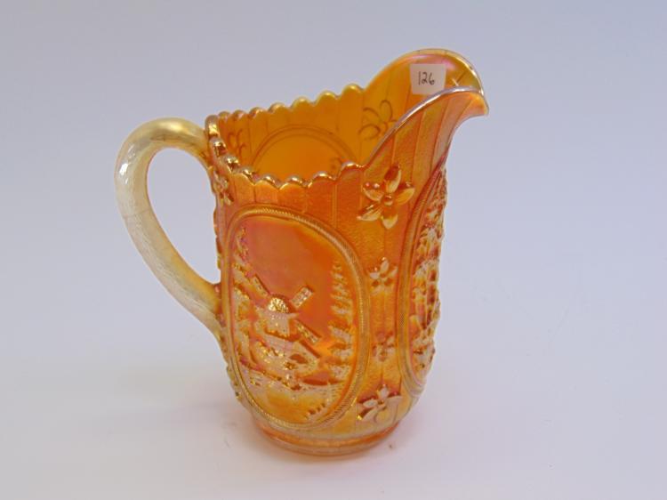 Vintage Orange Carnival Glass Windmill Pitcher