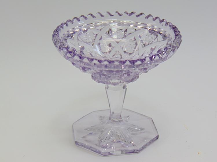 Lot 127: Vintage Purple Glass Near Cut Footed Compote