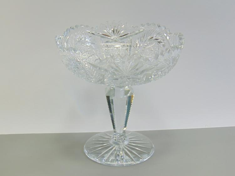 Cut Crystal Star Burst Footed Compote
