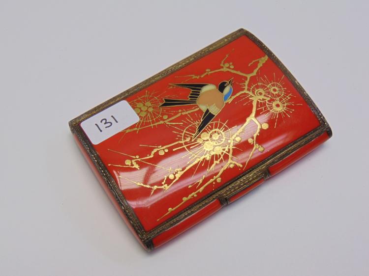 Vintage Enamel German Made Bird Cigarette Case
