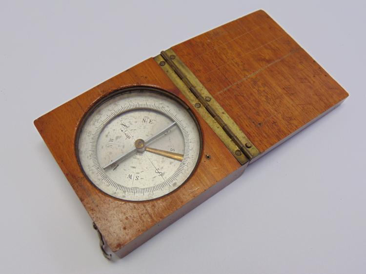 Vintage French Compass in Wooden Case