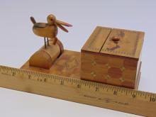 Lot 134: Vintage Asian Inlaid Wood Bird Mechanical Cigarette Dispenser