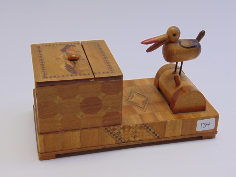 Vintage Asian Inlaid Wood Bird Mechanical Cigarette Dispenser