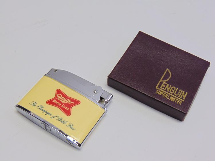 Lot 140: Vintage Advertising Miller High Life Beer Penguin Lighter New in Box