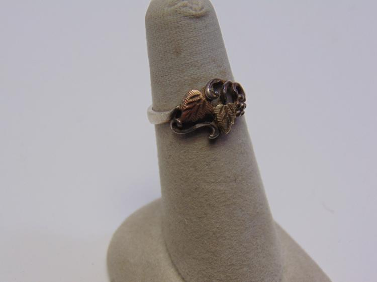 Sterling Silver and Black Hills Gold Ring Sz 6