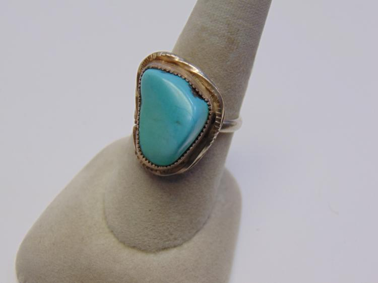 Sterling Silver and Turquoise Nugget Navajo Ring