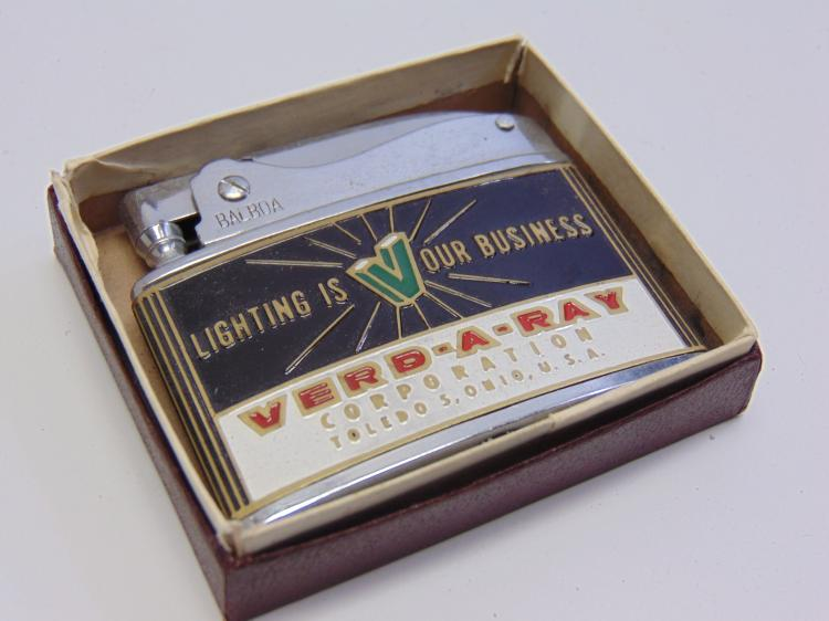 Vintage Wellington Balboa Verd-A-Ray Advertising Lighter