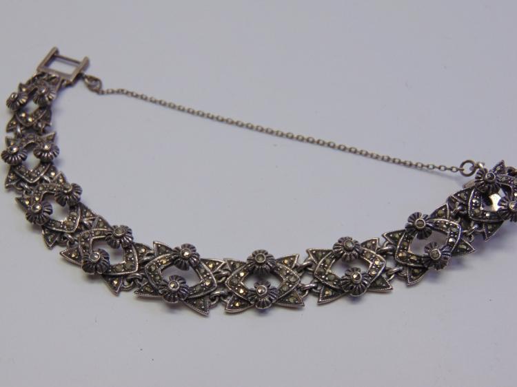26.7 Gram Sterling Silver and Marcasite Bracelet Signed ND